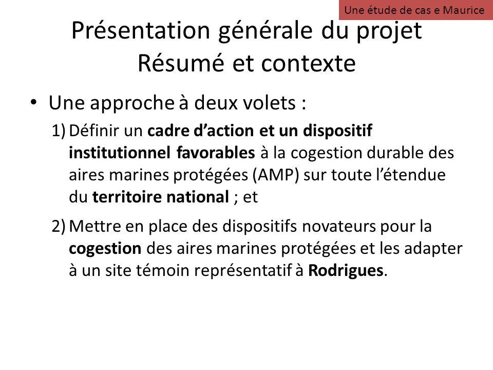 Présentation générale du projet Résumé et contexte Une approche à deux volets : 1)Définir un cadre daction et un dispositif institutionnel favorables
