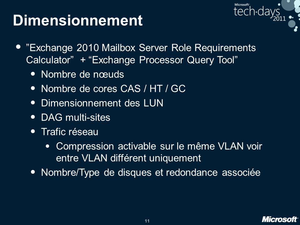 11 Dimensionnement Exchange 2010 Mailbox Server Role Requirements Calculator + Exchange Processor Query Tool Nombre de nœuds Nombre de cores CAS / HT / GC Dimensionnement des LUN DAG multi-sites Trafic réseau Compression activable sur le même VLAN voir entre VLAN différent uniquement Nombre/Type de disques et redondance associée
