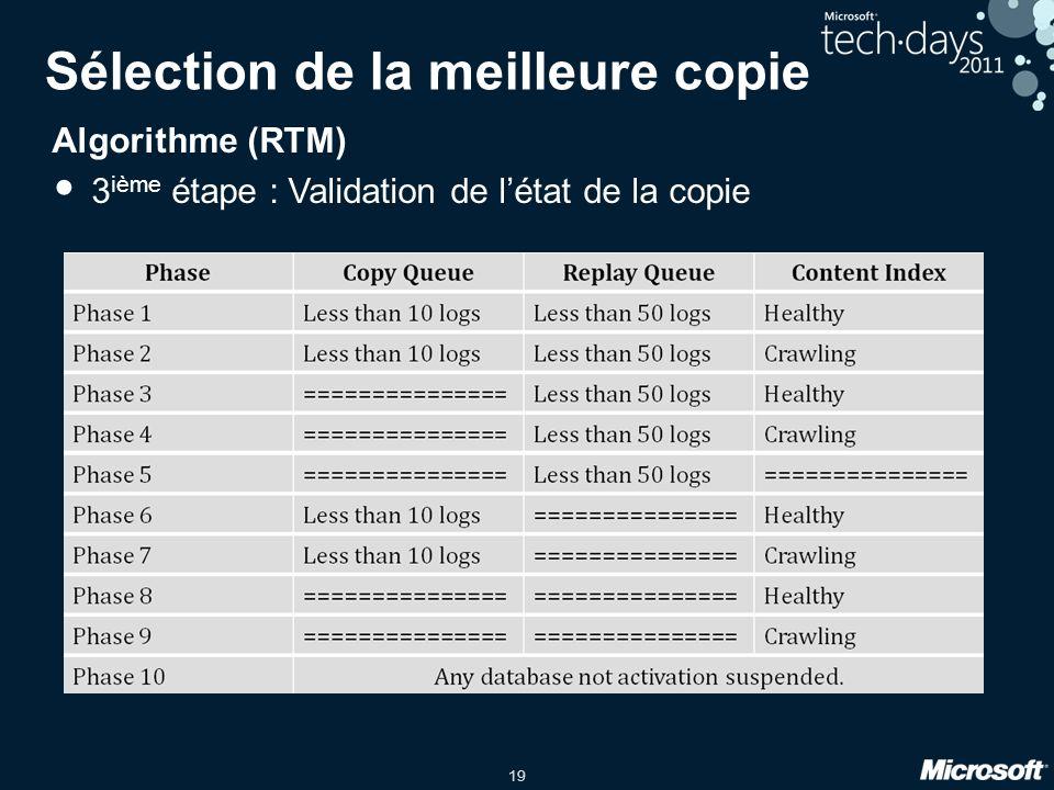 19 Sélection de la meilleure copie Algorithme (RTM) 3 ième étape : Validation de létat de la copie