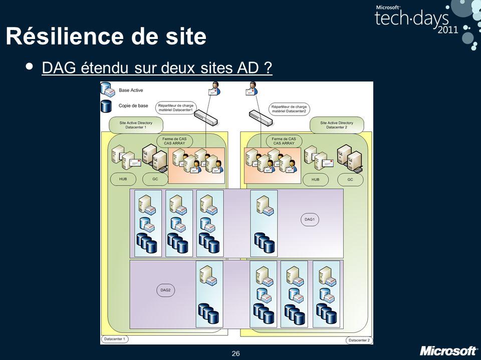 26 Résilience de site DAG étendu sur deux sites AD ?
