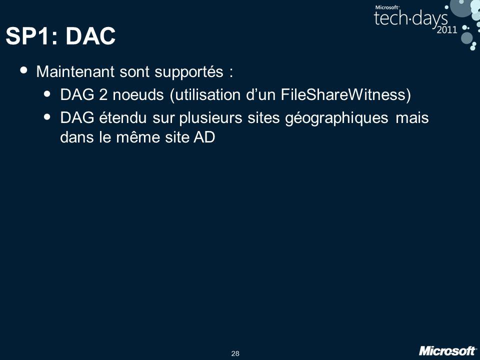 28 SP1: DAC Maintenant sont supportés : DAG 2 noeuds (utilisation dun FileShareWitness) DAG étendu sur plusieurs sites géographiques mais dans le même
