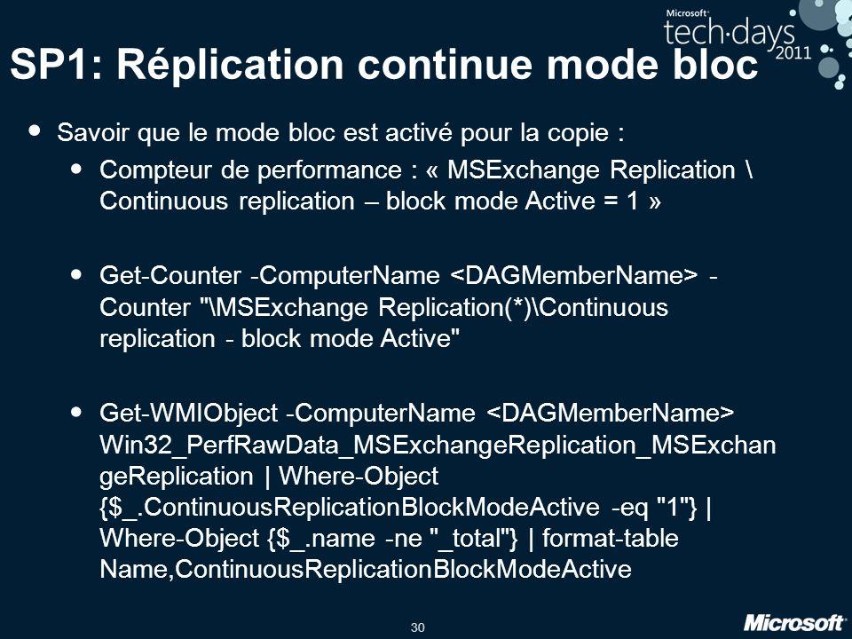 30 SP1: Réplication continue mode bloc Savoir que le mode bloc est activé pour la copie : Compteur de performance : « MSExchange Replication \ Continuous replication – block mode Active = 1 » Get-Counter -ComputerName - Counter \MSExchange Replication(*)\Continuous replication - block mode Active Get-WMIObject -ComputerName Win32_PerfRawData_MSExchangeReplication_MSExchan geReplication | Where-Object {$_.ContinuousReplicationBlockModeActive -eq 1 } | Where-Object {$_.name -ne _total } | format-table Name,ContinuousReplicationBlockModeActive