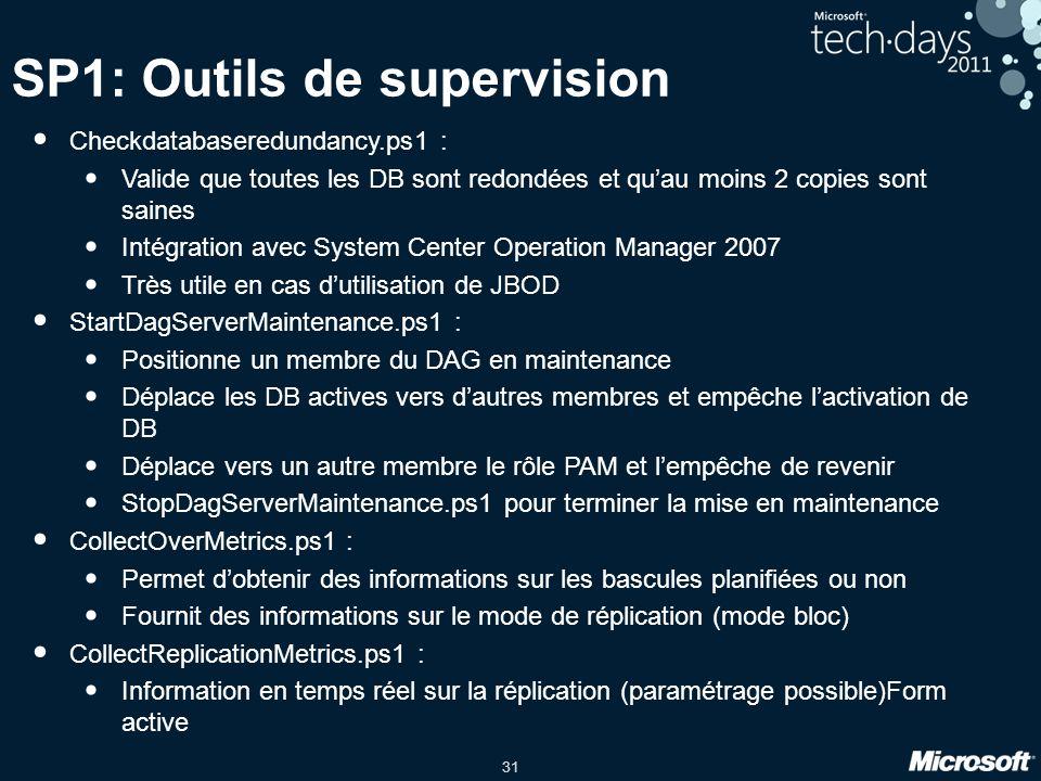 31 SP1: Outils de supervision Checkdatabaseredundancy.ps1 : Valide que toutes les DB sont redondées et quau moins 2 copies sont saines Intégration ave