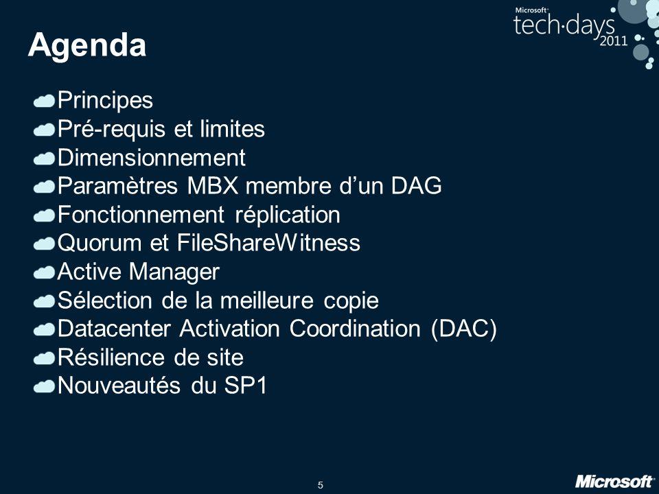 5 Agenda Principes Pré-requis et limites Dimensionnement Paramètres MBX membre dun DAG Fonctionnement réplication Quorum et FileShareWitness Active Manager Sélection de la meilleure copie Datacenter Activation Coordination (DAC) Résilience de site Nouveautés du SP1