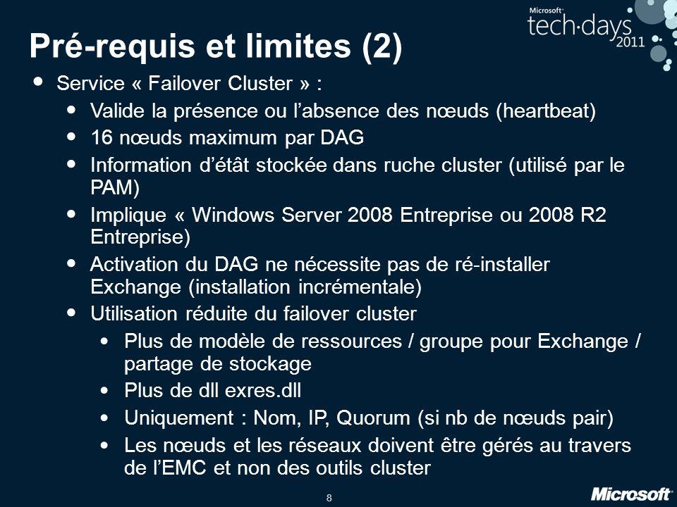8 Pré-requis et limites (2) Service « Failover Cluster » : Valide la présence ou labsence des nœuds (heartbeat) 16 nœuds maximum par DAG Information d