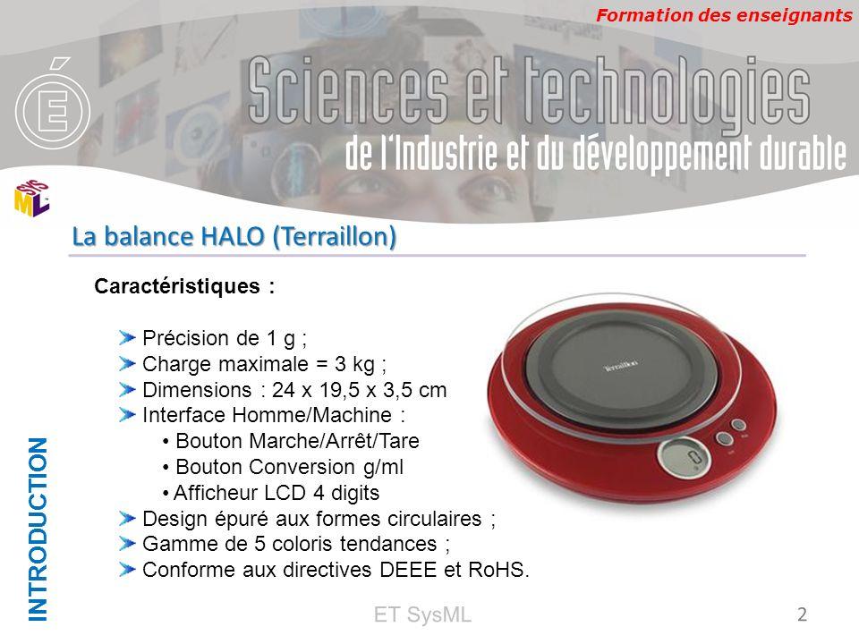 Formation des enseignants INTRODUCTION 2 La balance HALO (Terraillon) ET SysML Caractéristiques : Précision de 1 g ; Charge maximale = 3 kg ; Dimensio