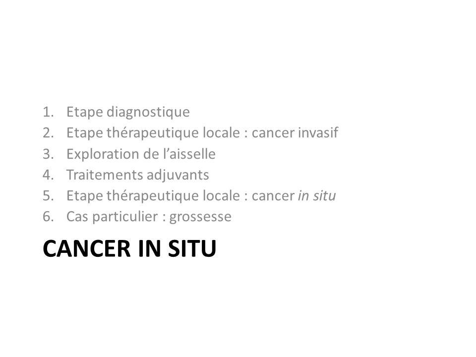 CANCER IN SITU 1.Etape diagnostique 2.Etape thérapeutique locale : cancer invasif 3.Exploration de laisselle 4.Traitements adjuvants 5.Etape thérapeutique locale : cancer in situ 6.Cas particulier : grossesse