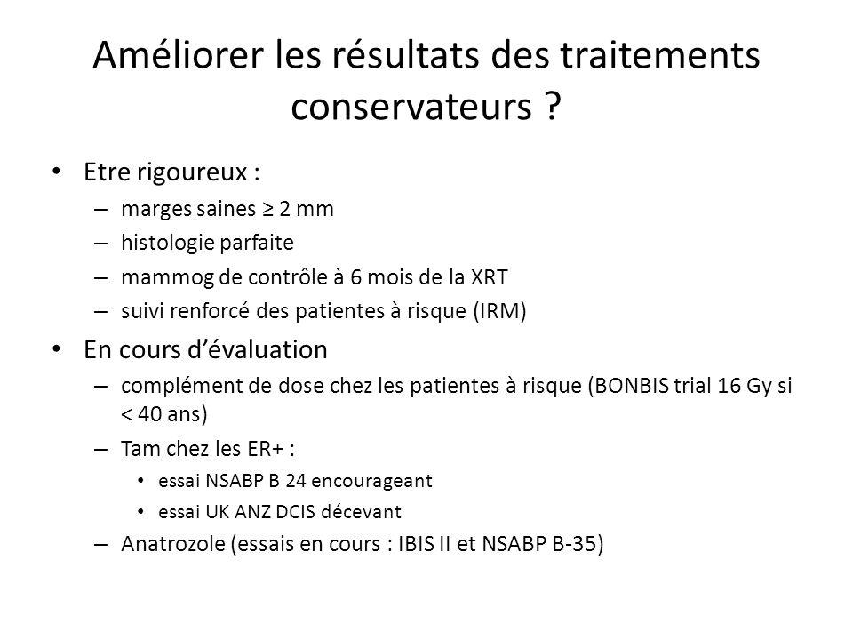 Améliorer les résultats des traitements conservateurs ? Etre rigoureux : – marges saines 2 mm – histologie parfaite – mammog de contrôle à 6 mois de l