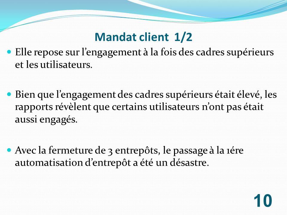 Mandat client 1/2 Elle repose sur lengagement à la fois des cadres supérieurs et les utilisateurs. Bien que lengagement des cadres supérieurs était él