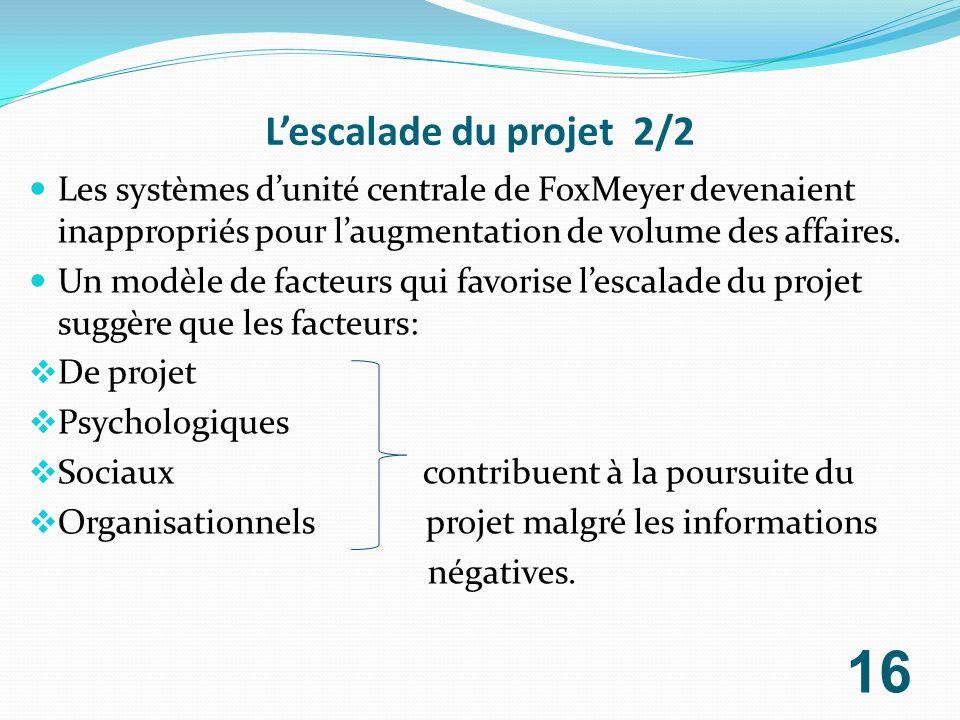 Lescalade du projet 2/2 Les systèmes dunité centrale de FoxMeyer devenaient inappropriés pour laugmentation de volume des affaires. Un modèle de facte