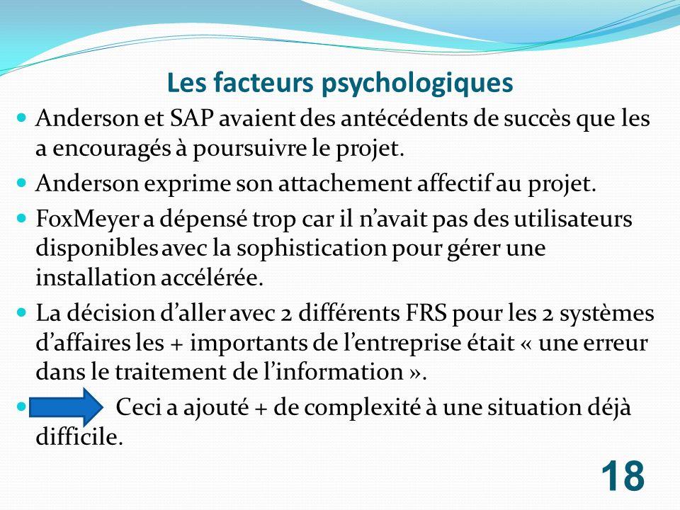 Les facteurs psychologiques Anderson et SAP avaient des antécédents de succès que les a encouragés à poursuivre le projet. Anderson exprime son attach