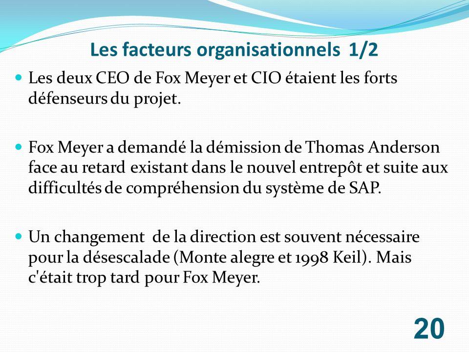 Les facteurs organisationnels 1/2 Les deux CEO de Fox Meyer et CIO étaient les forts défenseurs du projet. Fox Meyer a demandé la démission de Thomas