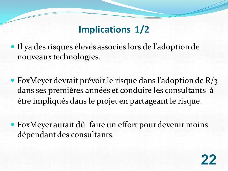 Implications 1/2 Il ya des risques élevés associés lors de l'adoption de nouveaux technologies. FoxMeyer devrait prévoir le risque dans l'adoption de