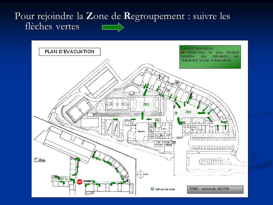 Pour rejoindre la Zone de Regroupement : suivre les flèches vertes