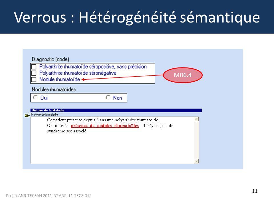 Projet ANR TECSAN 2011 N° ANR-11-TECS-012 11 Verrous : Hétérogénéité sémantique Ce patient présente depuis 5 ans une polyarthrite rhumatoïde. On note