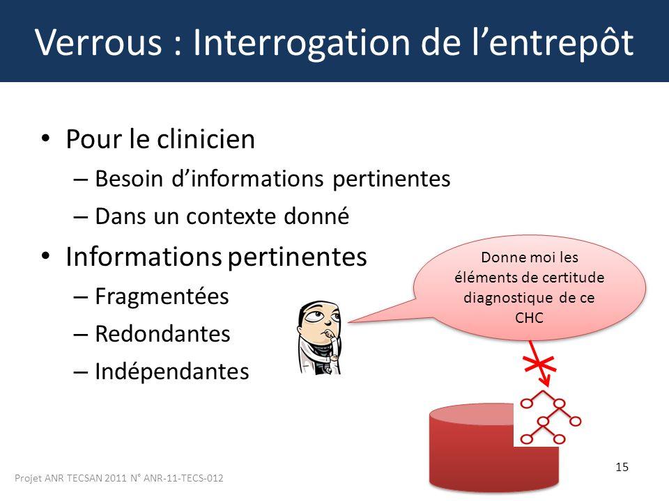 Projet ANR TECSAN 2011 N° ANR-11-TECS-012 15 Verrous : Interrogation de lentrepôt Pour le clinicien – Besoin dinformations pertinentes – Dans un conte
