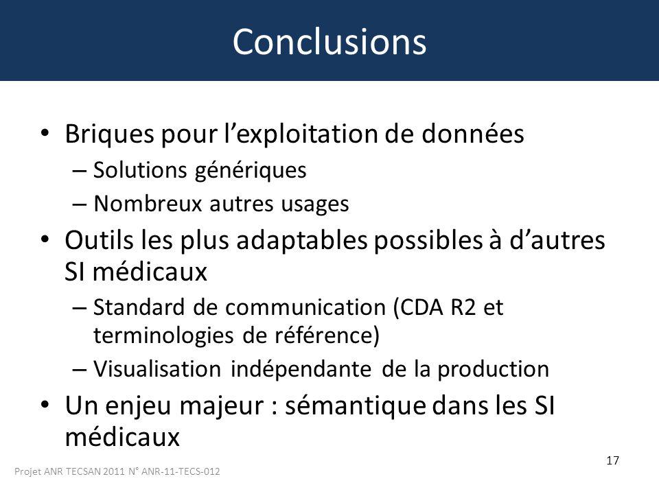 Projet ANR TECSAN 2011 N° ANR-11-TECS-012 17 Conclusions Briques pour lexploitation de données – Solutions génériques – Nombreux autres usages Outils