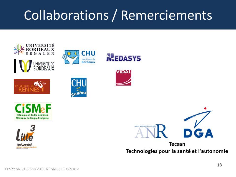 Projet ANR TECSAN 2011 N° ANR-11-TECS-012 18 Collaborations / Remerciements Tecsan Technologies pour la santé et l'autonomie