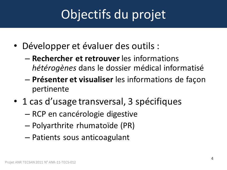 Projet ANR TECSAN 2011 N° ANR-11-TECS-012 4 Objectifs du projet Développer et évaluer des outils : – Rechercher et retrouver les informations hétérogè