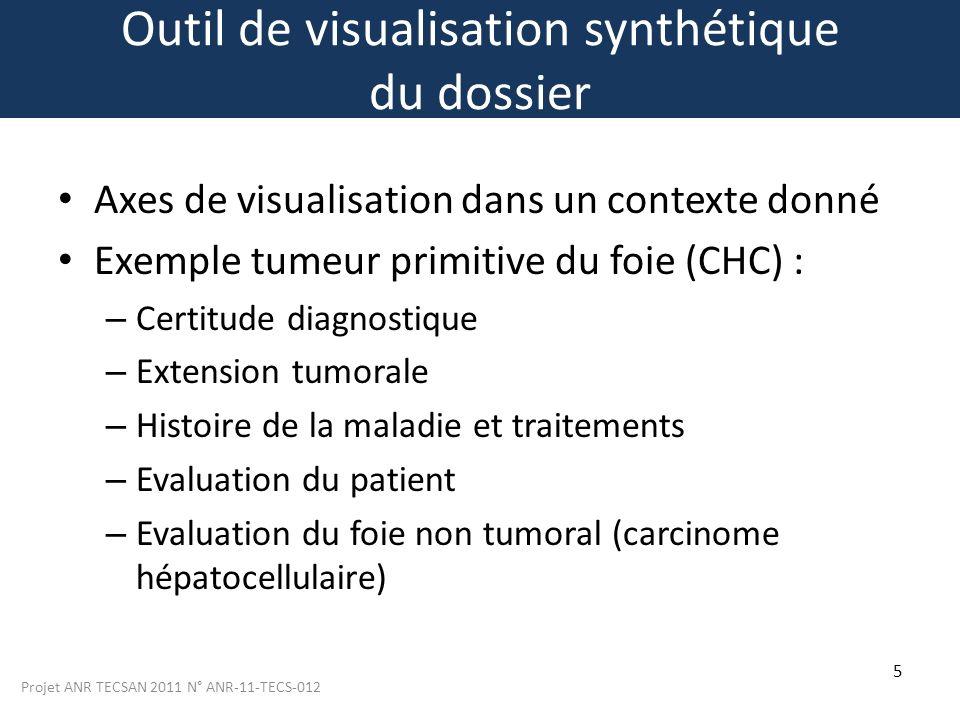 Projet ANR TECSAN 2011 N° ANR-11-TECS-012 5 Outil de visualisation synthétique du dossier Axes de visualisation dans un contexte donné Exemple tumeur
