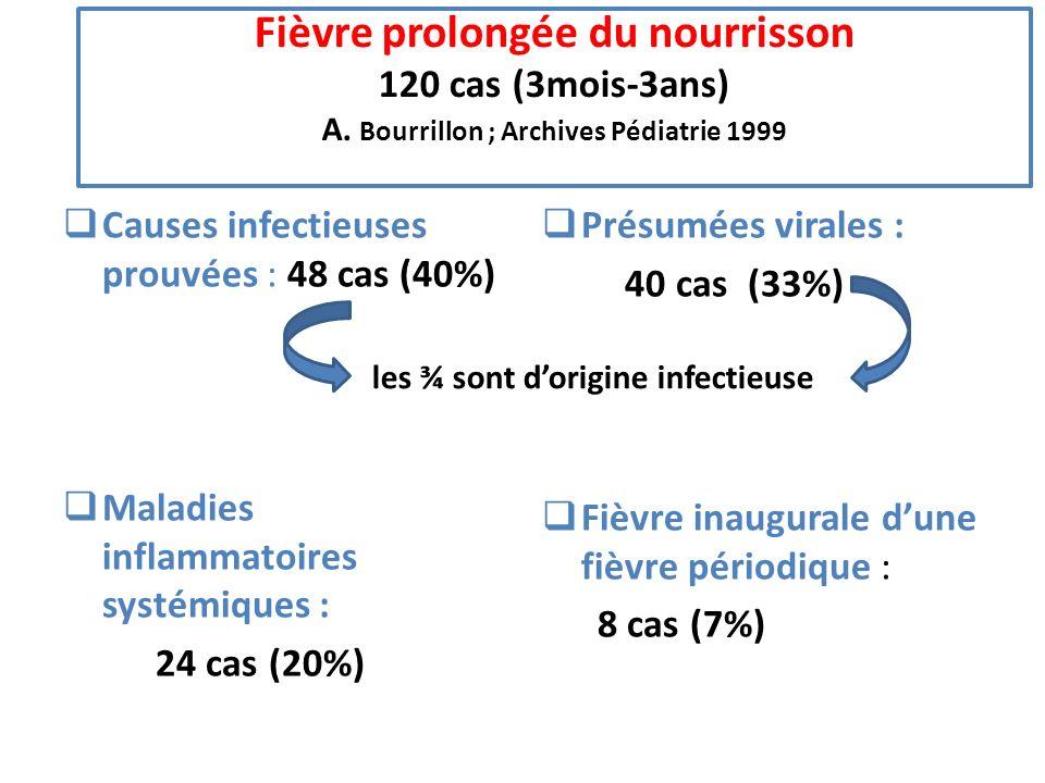 Fièvre prolongée du nourrisson 120 cas (3mois-3ans) A. Bourrillon ; Archives Pédiatrie 1999 Causes infectieuses prouvées : 48 cas (40%) Maladies infla