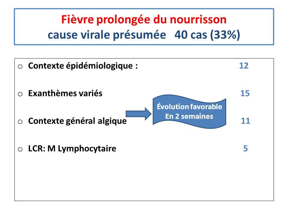Fièvre prolongée du nourrisson cause virale présumée 40 cas (33%) o Contexte épidémiologique : 12 o Exanthèmes variés 15 o Contexte général algique 11