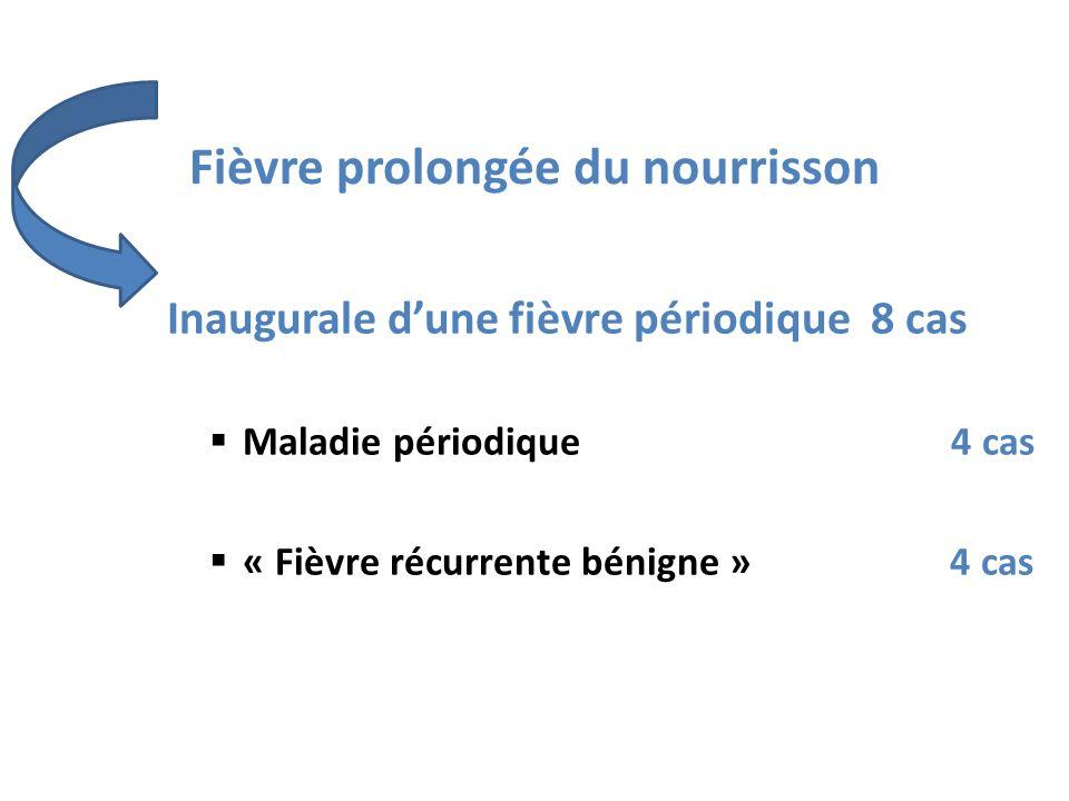 Fièvre prolongée du nourrisson Inaugurale dune fièvre périodique 8 cas Maladie périodique 4 cas « Fièvre récurrente bénigne » 4 cas
