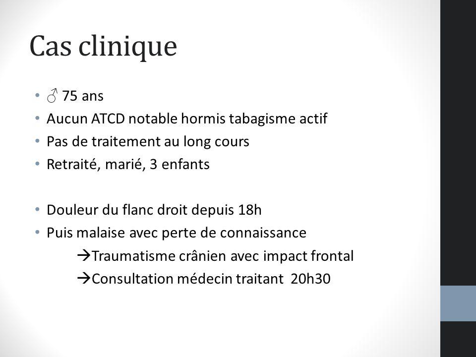Cas clinique 75 ans Aucun ATCD notable hormis tabagisme actif Pas de traitement au long cours Retraité, marié, 3 enfants Douleur du flanc droit depuis