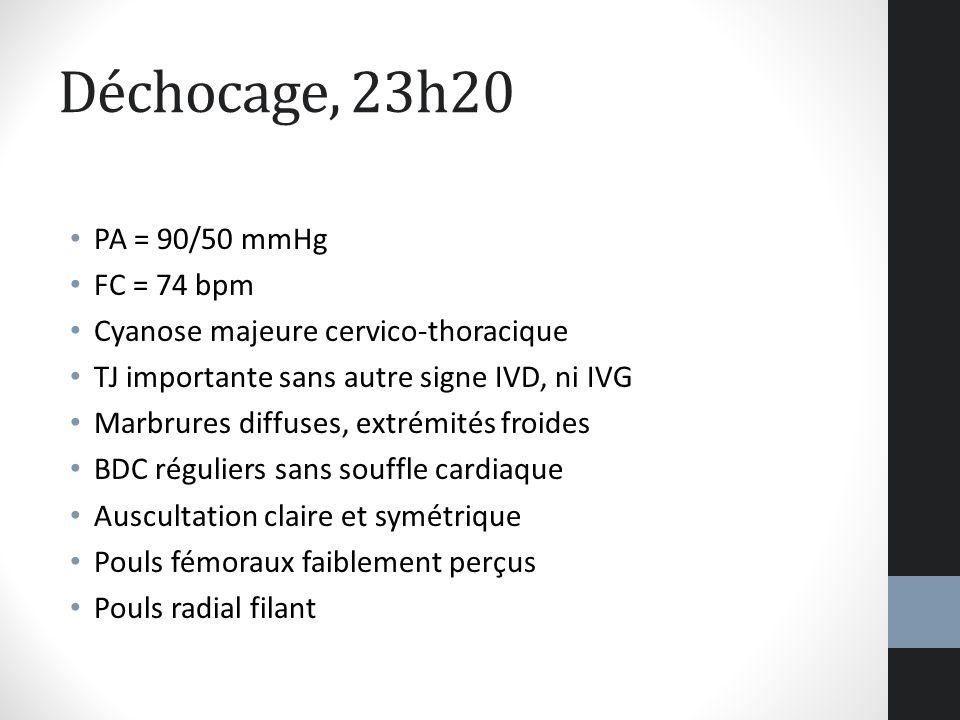 Déchocage, 23h20 PA = 90/50 mmHg FC = 74 bpm Cyanose majeure cervico-thoracique TJ importante sans autre signe IVD, ni IVG Marbrures diffuses, extrémi