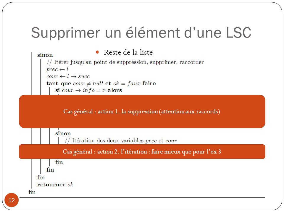 Supprimer un élément dune LSC 12 Reste de la liste Cas général : action 1.