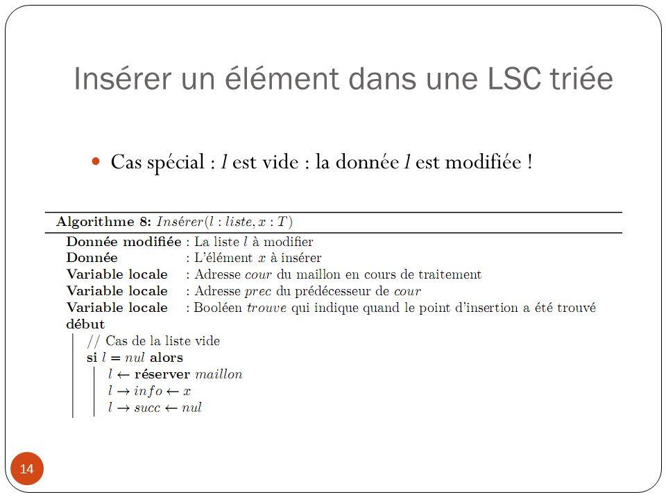 Insérer un élément dans une LSC triée 15 Cas spécial : insertion en tête de liste : la donnée l est modifiée !