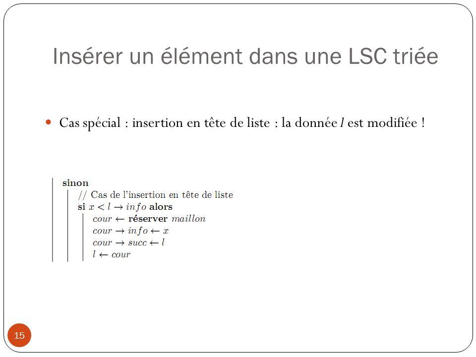 Insérer un élément dans une LSC triée 16 Cas général : cœur de liste