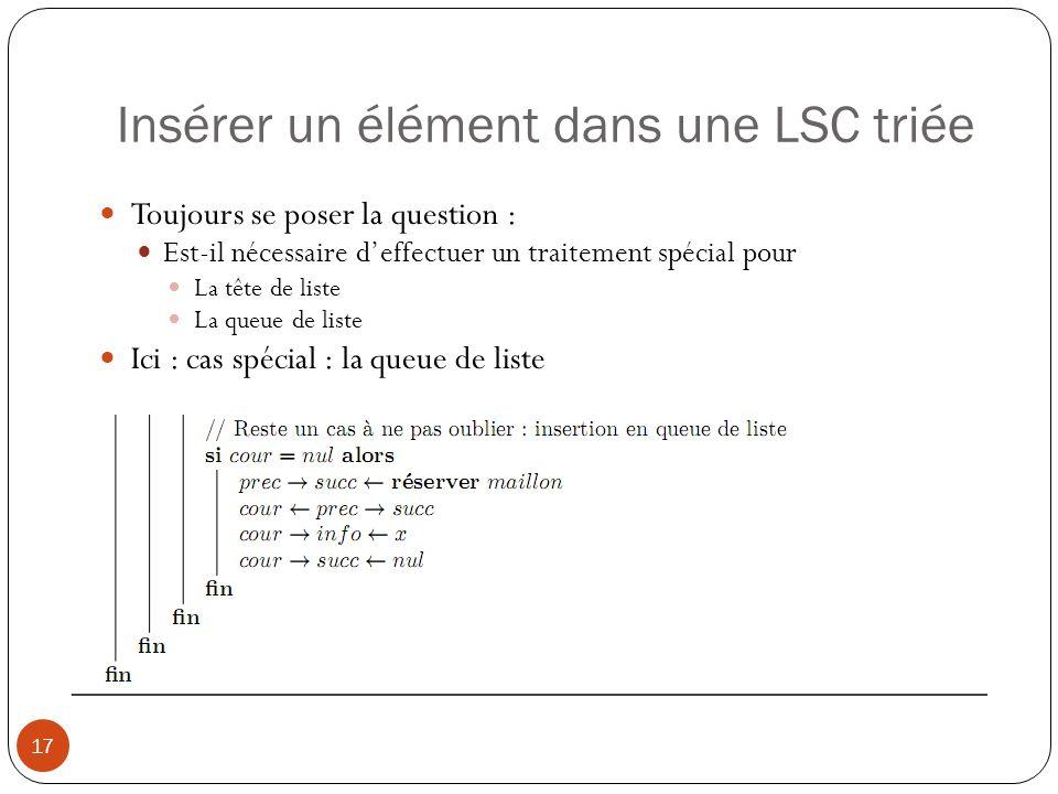 Insérer un élément dans une LSC triée 17 Toujours se poser la question : Est-il nécessaire deffectuer un traitement spécial pour La tête de liste La queue de liste Ici : cas spécial : la queue de liste