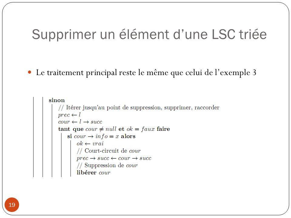 Supprimer un élément dune LSC triée 20 En revanche, on peut optimiser le parcours itératif