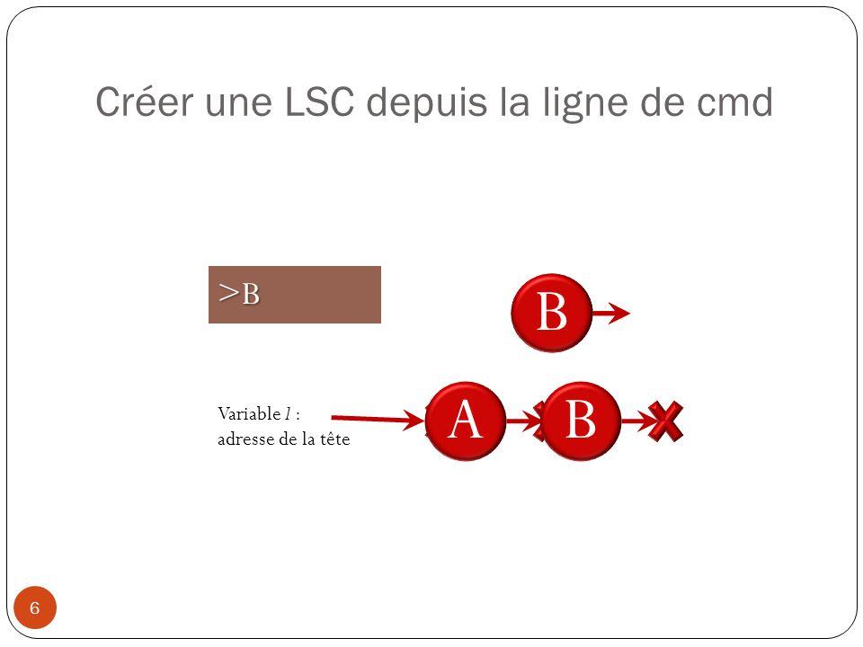 Créer une LSC depuis la ligne de cmd 6 A Variable l : adresse de la tête >A A>B B B