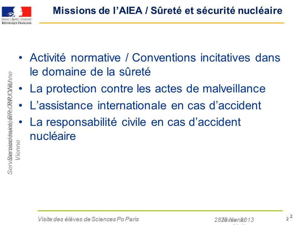 Service nucléaire, RP ONU Vienne 28 février 2013 Visite des élèves de Sciences Po Paris 2 Missions de lAIEA / Sûreté et sécurité nucléaire Activité no