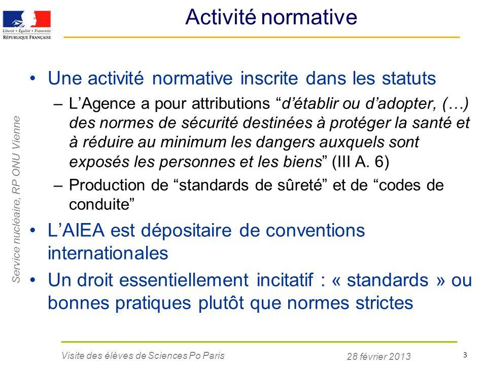 28 février 2013 Visite des élèves de Sciences Po Paris 3 Activité normative Une activité normative inscrite dans les statuts –LAgence a pour attributi