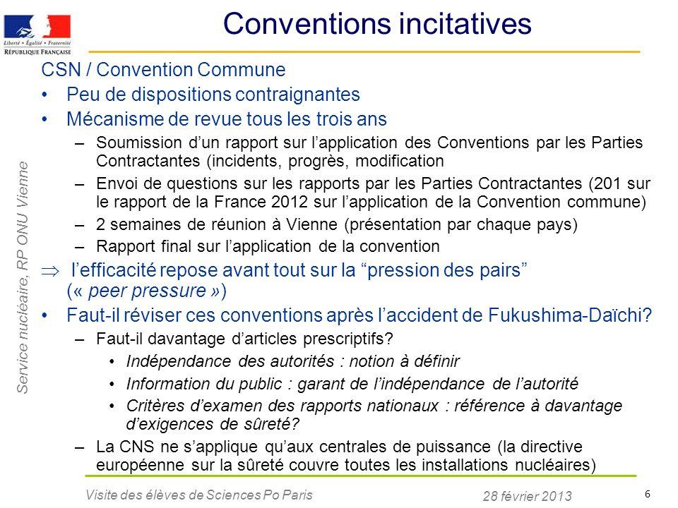 Service nucléaire, RP ONU Vienne 28 février 2013 Visite des élèves de Sciences Po Paris 6 Conventions incitatives CSN / Convention Commune Peu de disp