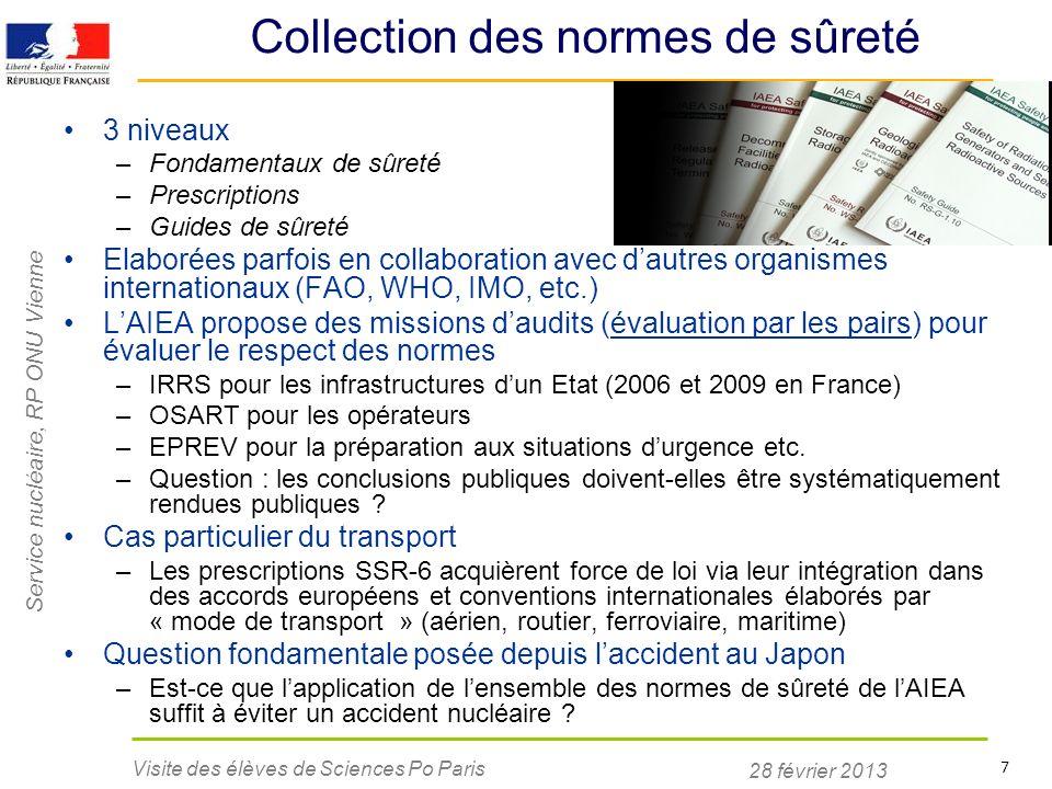 Service nucléaire, RP ONU Vienne 28 février 2013 Visite des élèves de Sciences Po Paris 7 Collection des normes de sûreté 3 niveaux –Fondamentaux de s
