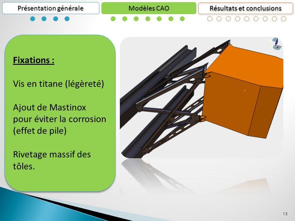 13 Présentation générale Résultats et conclusions Modèles CAO Fixations : Vis en titane (légèreté) Ajout de Mastinox pour éviter la corrosion (effet de pile) Rivetage massif des tôles.