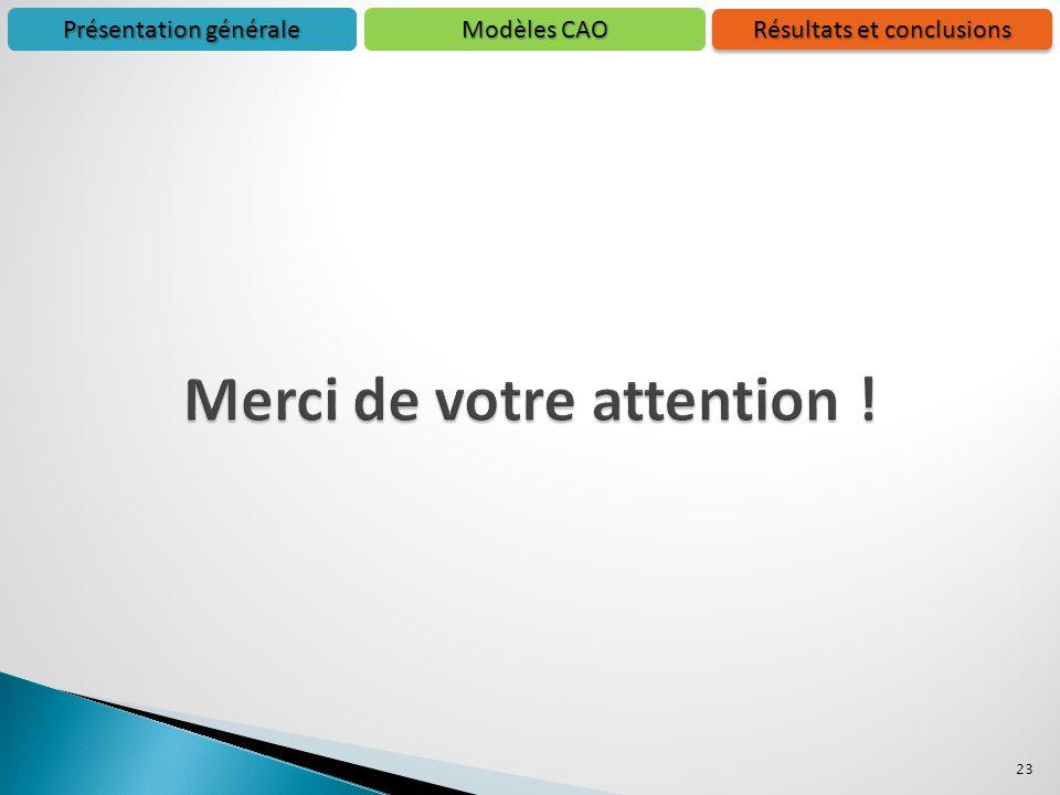 23 Présentation générale Résultats et conclusions Modèles CAO