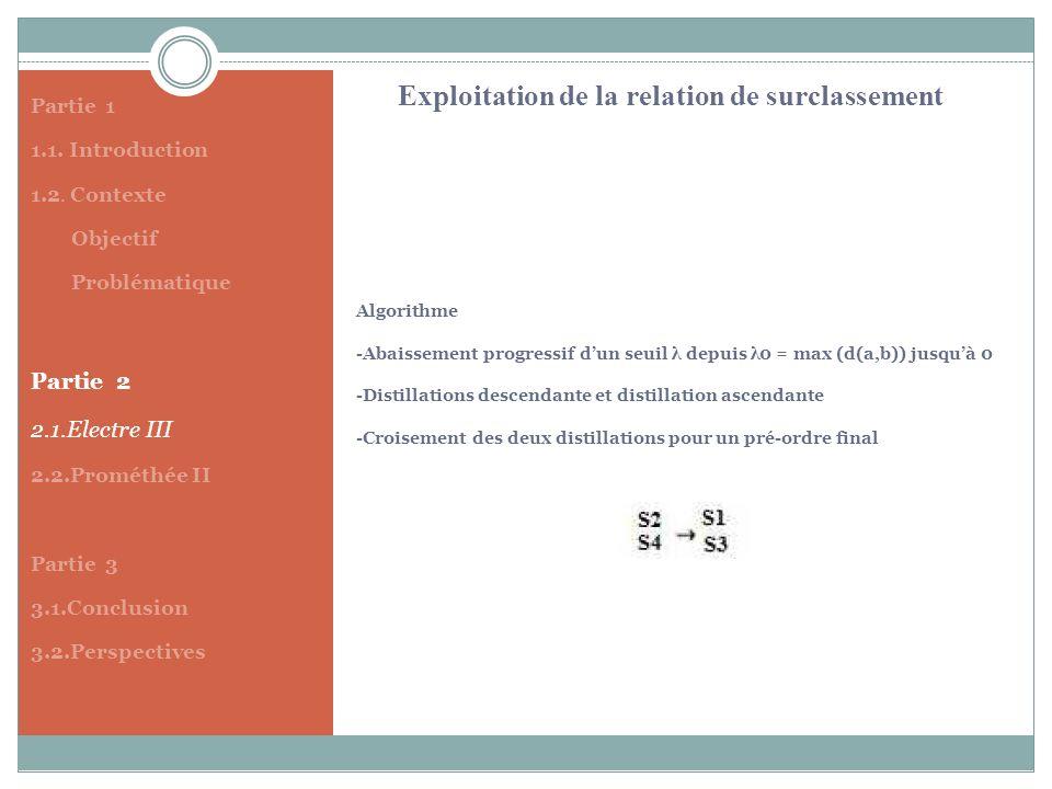 Algorithme -Abaissement progressif dun seuil λ depuis λ0 = max (d(a,b)) jusquà 0 -Distillations descendante et distillation ascendante -Croisement des deux distillations pour un pré-ordre final Partie 1 1.1.
