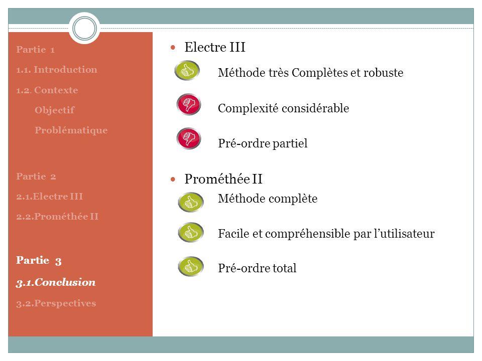 Partie 1 1.1. Introduction 1.2. Contexte Objectif Problématique Partie 2 2.1.Electre III 2.2.Prométhée II Partie 3 3.1.Conclusion 3.2.Perspectives Ele