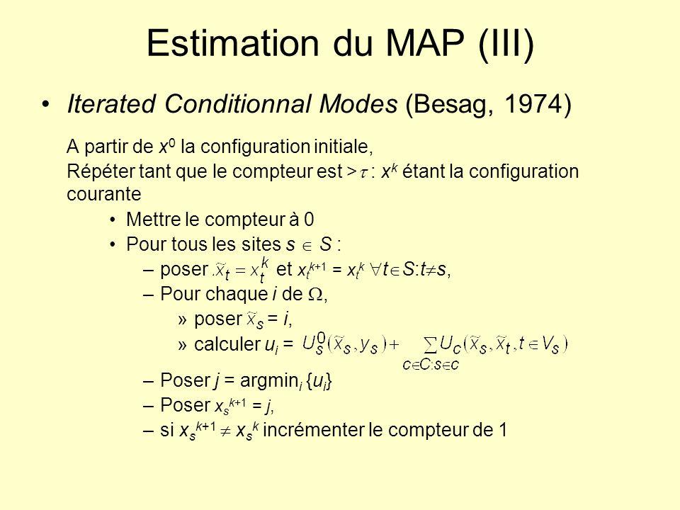 Estimation du MAP (III) Iterated Conditionnal Modes (Besag, 1974) A partir de x 0 la configuration initiale, Répéter tant que le compteur est > : x k
