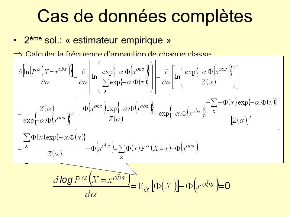 Cas de données complètes 2 ème sol.: « estimateur empirique » Calculer la fréquence dapparition de chaque classe conditionnellement à toutes les confi