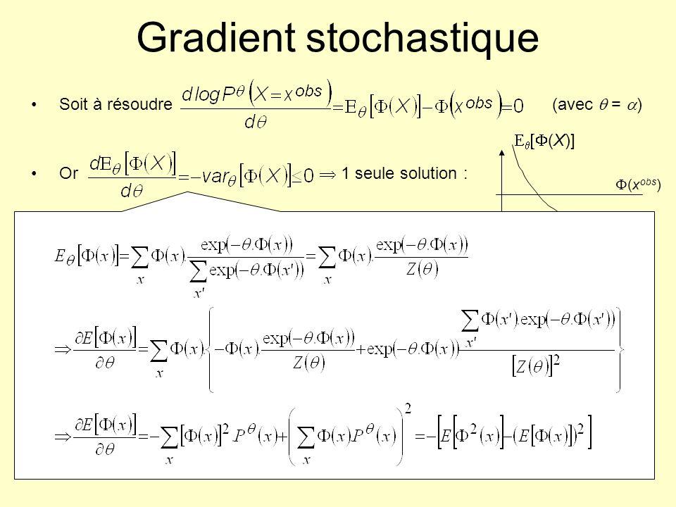 Gradient stochastique Soit à résoudre (avec = ) Or 1 seule solution : Gradient stochastique (Younes, 1988) À partir de 0, x (0) arbitraires, répéter à