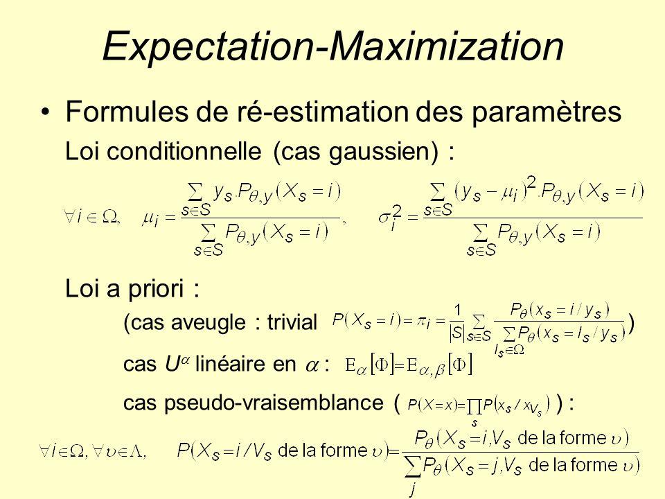 Expectation-Maximization Formules de ré-estimation des paramètres Loi conditionnelle (cas gaussien) : Loi a priori : (cas aveugle : trivial) cas U lin