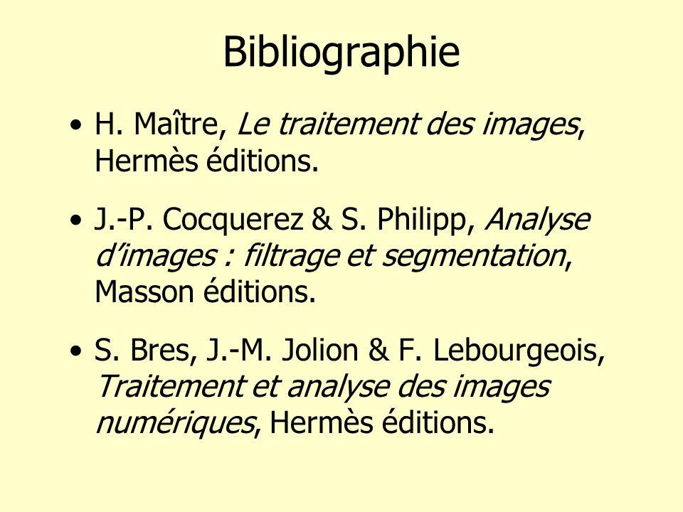 Bibliographie H. Maître, Le traitement des images, Hermès éditions. J.-P. Cocquerez & S. Philipp, Analyse dimages : filtrage et segmentation, Masson é