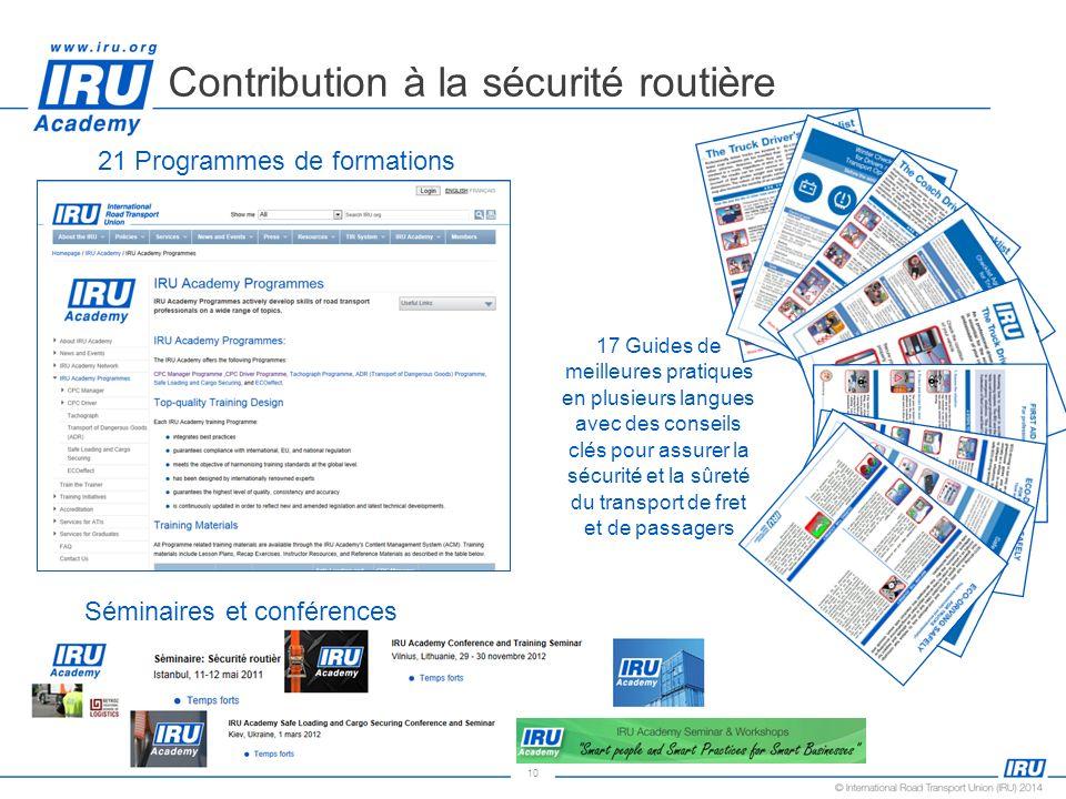 10 Contribution à la sécurité routière 21 Programmes de formations 17 Guides de meilleures pratiques en plusieurs langues avec des conseils clés pour