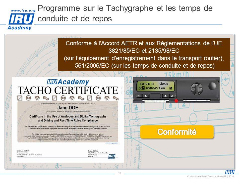 13 Programme sur le Tachygraphe et les temps de conduite et de repos Conforme à lAccord AETR et aux Réglementations de lUE 3821/85/EC et 2135/98/EC (s
